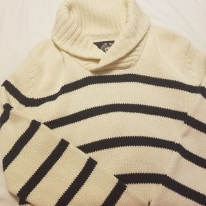 Heavy and thick cream sweater with Navy Stripes.